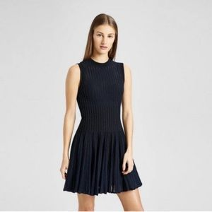 THEORY Novelty Checker Knit Sleeveless Short Dress